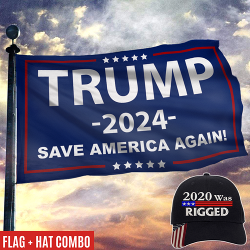 2020 Was Rigged Hat with Save America Again Rally Flag