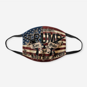 Trump Law and Order Cloth Cotton Nose and Mouth Protection + Trump 2020 American Flag Pin Bundle