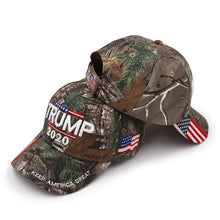 Load image into Gallery viewer, Donald Trump 2020 Keep America Great Camo Hat + FREE Trump Rally Bracelet & Sticker Combo