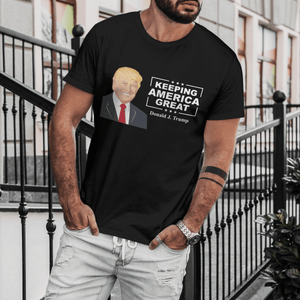 Donald Trump Keeping America Great - Blonde Hair - Apparel of Men's Shirt, Women's Shirt, Sweatshirt, Hoodie and Tank Top