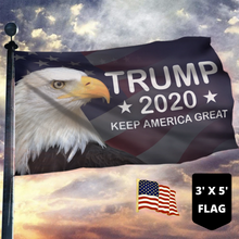 Load image into Gallery viewer, LIMITED EDITION Trump 2020 Keep America Great - American Eagle Flag With FREE American Flag Lapel Pin
