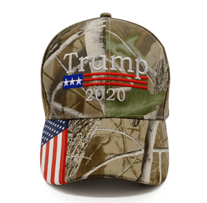 Trump 2020 Camo Hat w/ Trump 45th President Pin and Keep America great Flag