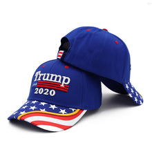 Load image into Gallery viewer, Trump 2020 2 Blue Flag Bill Hats - 2 Trump Hats + FREE 2 Trump Rally Bracelets Combo Deal