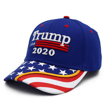 Load image into Gallery viewer, Trump 2020 Blue Flag Bill Hat - USA Flag Trump Hat