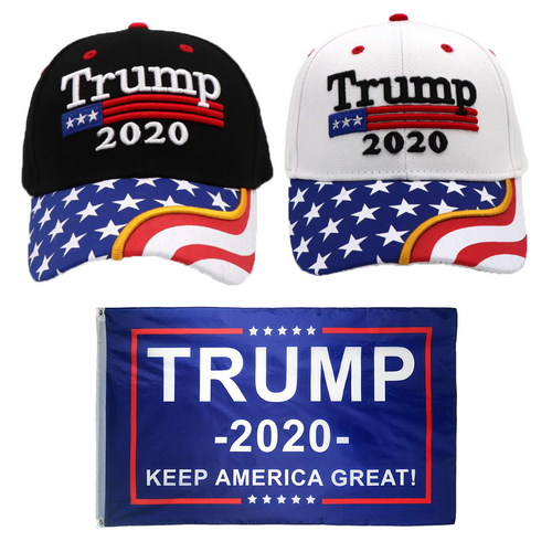 Trump 2020 Black Flag Bill and White Flag Bill Hats - 2 Trump Hat + FREE Trump2020 Keep America Great Rally Flag Combo Deal