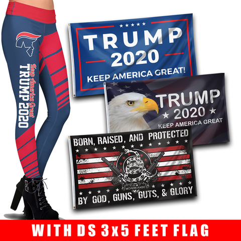 Pre-Release Limited Edition Trump 2020 KAG - Leggings - USA Colorway and Double-Sided 3x5 Flags Bundle