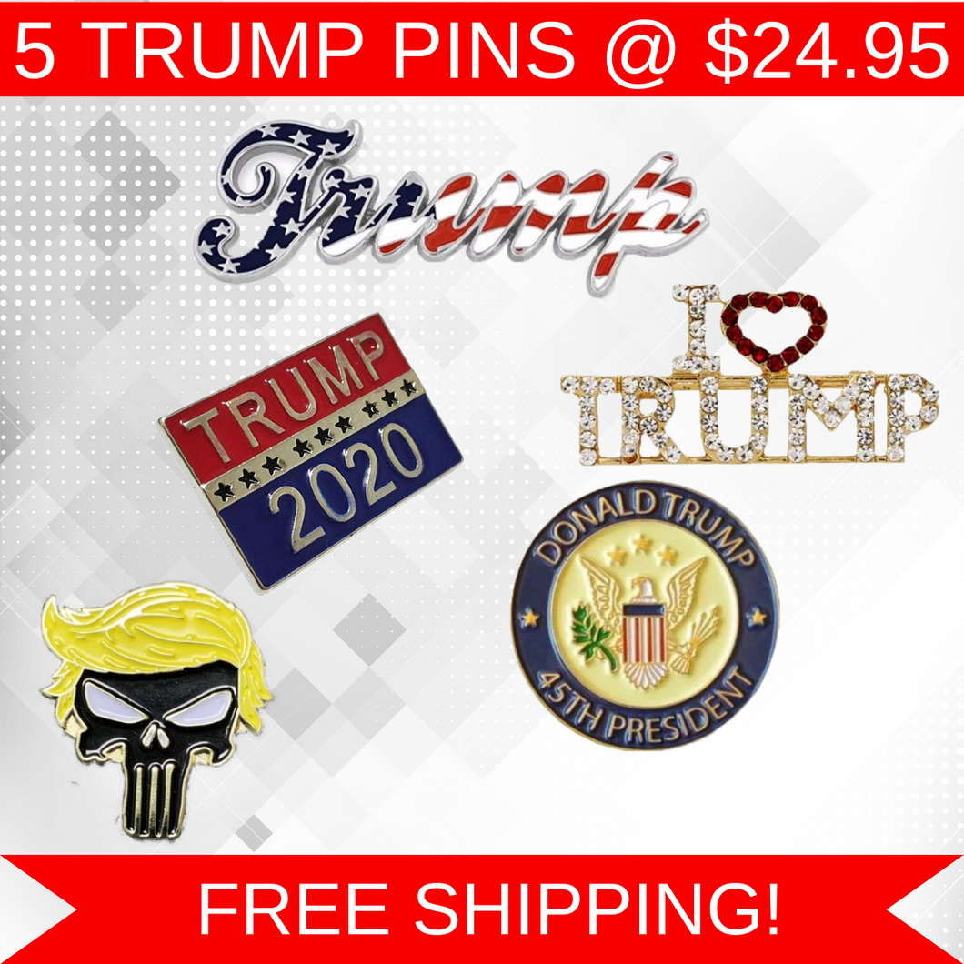 5pc Trump Pins Combo Deal - Trump Punisher Trump American Flag 45th President I Love Trump & Trump 2020 Pins