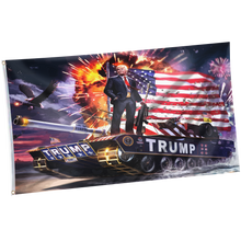 Load image into Gallery viewer, Pre-Release Limited Edition Trump 2020 KAG - Leggings - USA Colorway + 3x5 Trump Rare Tank Flag + Trump 2020 Pin
