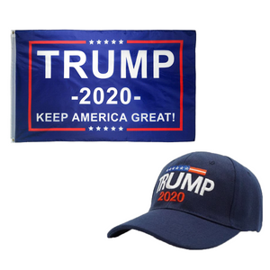 Trump 2020 Flag and Trump 2020 Hat - Trump 2020 Rally Flag w/ Trump 2020 Hat - Bundle Deal