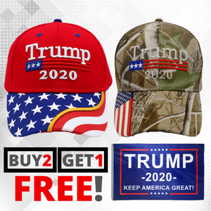 Trump 2020 Red Flag Bill and Mossy Oak Camo Hats - 2 Trump Hat + FREE Trump2020 Keep America Great Rally Flag Combo Deal