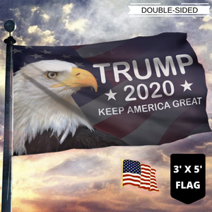LIMITED EDITION Trump 2020 Keep America Great - American Eagle Flag With FREE American Flag Lapel Pin