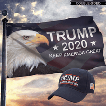 Load image into Gallery viewer, LIMITED EDITION Trump 2020 Keep America Great - American Eagle Flag +Trump Keep America Great 2020 Hat Combo