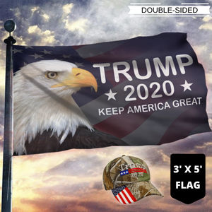 LIMITED EDITION Trump 2020 Keep America Great - American Eagle Flag + Trump Camo Hat Combo
