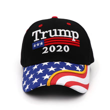Load image into Gallery viewer, Trump 2020 Flag Bill USA Flag Hat + FREE Trump Rally Bracelet & Sticker Combo