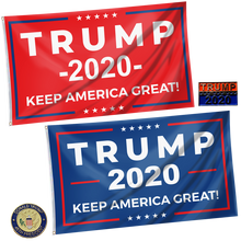 Load image into Gallery viewer, Keep America Great Trump 2020 - Red and Blue Rally Flag + Trump Pins Bundle