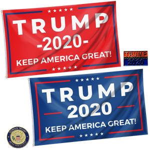 Keep America Great Trump 2020 - Red and Blue Rally Flag + Trump Pins Bundle