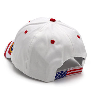 Trump 2020 White Flag Bill Hat - USA Flag Trump Hat