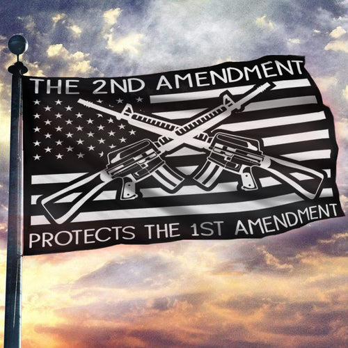 The Second Amendment Protects The First Amendment Flag 3x5 Flag