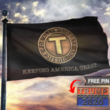 Load image into Gallery viewer, TRUMP 2020 Keeping America Great - Liberty And Justice For All With FREE Trump 2020 Pin