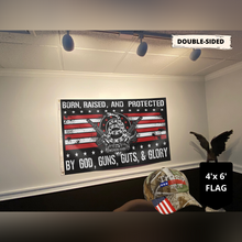 Load image into Gallery viewer, TRUMP EXCLUSIVE BUNDLE - BORN RAISED AND PROTECTED FLAG + TRUMP CAMO HAT COMBO