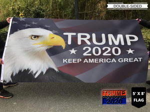 LIMITED EDITION Trump 2020 Keep America Great - American Eagle Flag With FREE Trump 2020 Pin
