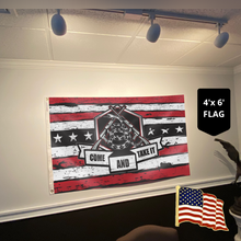 Load image into Gallery viewer, Don't Tread On Me Come and Take It - 2nd Amendment Flag With FREE American Flag Lapel Pin