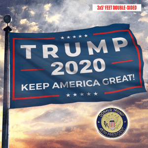 Trump 2020 Keep America Great Flag + 45th President Pin Bundle