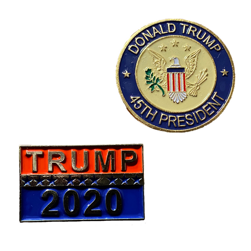 45th President & Trump 2020 Pin - 2pc Trump Pins