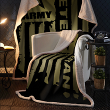 Load image into Gallery viewer, United States Army Veteran Sherpa Blanket - 50x60 + Free Matching 3x5 Single Reverse Flag