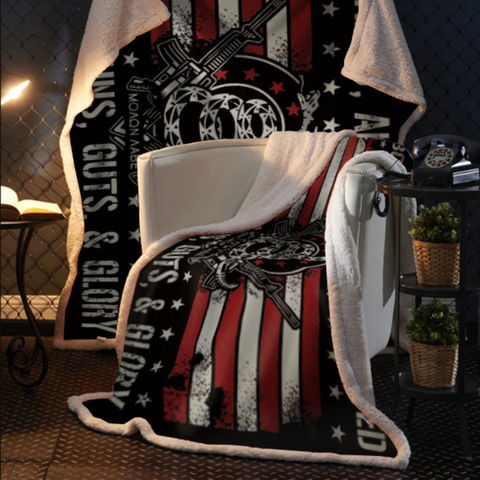 Born Raised and Protected By God, Guns, Guts and Glory 2nd Amendment Sherpa Blanket - 50x60 + Free Matching 3x5' Single Reverse Flag