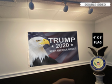 Load image into Gallery viewer, LIMITED EDITION Trump 2020 Keep America Great - American Eagle Flag With FREE Trump 45th Pin