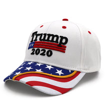 Load image into Gallery viewer, Trump 2020 White Flag Bill and Mossy Oak Camo Hats - 2 Trump Hats + FREE Trump Keep America Great Rally Flag Combo Deal