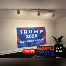 Load image into Gallery viewer, Trump 2020 Keep America Great Flag + FREE Trump 2020 Pin