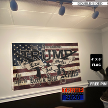 Load image into Gallery viewer, TRUMP 2020 LAW AND ORDER 4' X 6' FLAG + TRUMP 2020 PIN COMBO