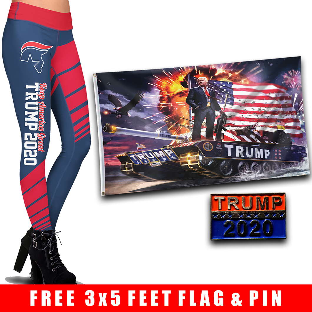 Pre-Release Limited Edition Trump 2020 KAG - Leggings - USA Colorway + 3x5 Trump Rare Tank Flag + Trump 2020 Pin