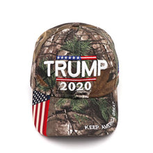 Load image into Gallery viewer, Donald Trump 2020 Keep America Great CAMO Hat Flag Bumper Sticker & Rally Bracelet Combo Deal
