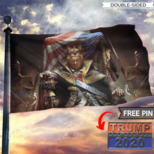 Load image into Gallery viewer, King Trump 2020 - American Flag With FREE Trump 2020 Pin