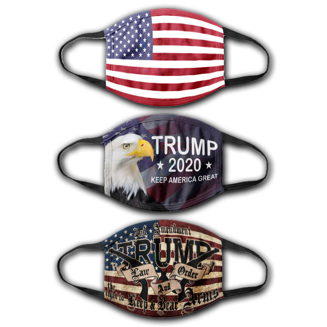Law and Order - Trump American Eagle - USA Flag - Face Cover Bundle