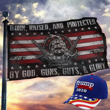 Load image into Gallery viewer, Trump Exclusive Bundle - Born Raised And Protected Flag + Trump Flag Bill Hat Combo