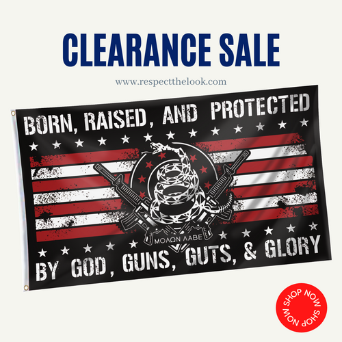 (CLEARANCE) Born Raised And Protected By God Guns Guts And Glory - 2nd Amendment Flag