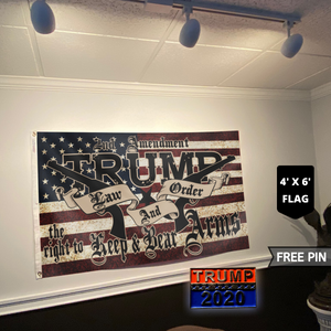 TRUMP 2020 LAW AND ORDER 4' X 6' FLAG + TRUMP 2020 PIN COMBO