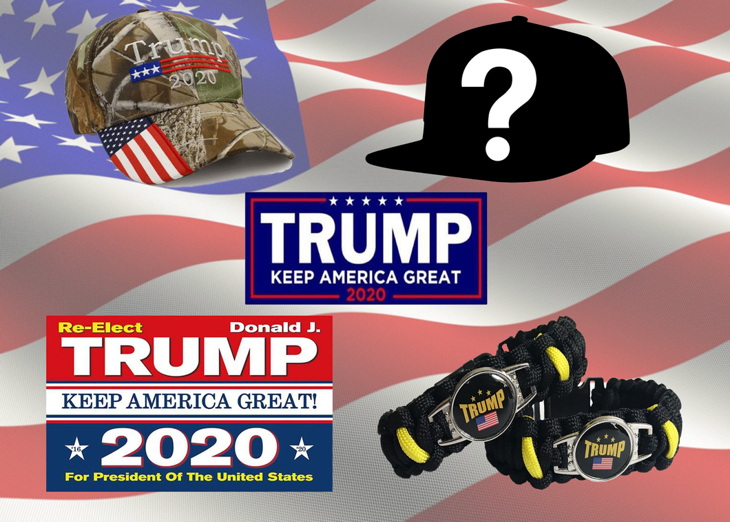 Trump MYSTERY Hat Trump 2020 Embroidered Camo Hat Re-elect 2020 Trump flag Trump Sticker and Trump 2020 Paracord bracelet  - Bundle Deal