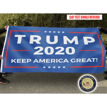 Load image into Gallery viewer, Trump 2020 Keep America Great Flag + 45th President Pin Bundle