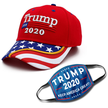 Load image into Gallery viewer, Trump 2020 Red Flag Bill Hat - USA Flag Trump Hat (NEW BUNDLE)