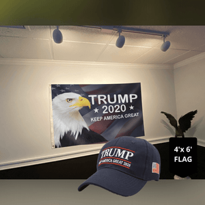 LIMITED EDITION Trump 2020 Keep America Great - American Eagle Flag +Trump Keep America Great 2020 Hat Combo
