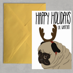 Funny Pug Christmas Holiday Card