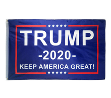 Load image into Gallery viewer, Trump 2020 Blue Flag Bill Hat - USA Flag Trump Hat  and Trump Rally Bracelet + Free Trump Rally Flag Combo Deal