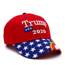 Load image into Gallery viewer, Trump 2020 2 Red Flag Bill Hats - 2 Trump Hats + FREE 2 Trump Rally Bracelets Combo Deal
