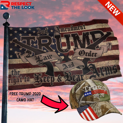 TRUMP EXCLUSIVE BUNDLE - LAW AND ORDER FLAG + TRUMP CAMO HAT COMBO
