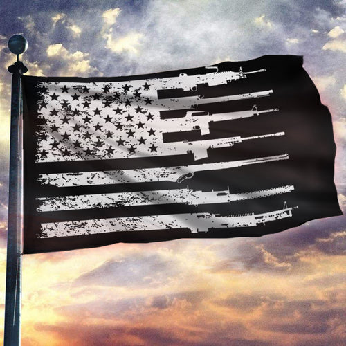 2nd Amendment American Rifle Flag 3x5 Flag - Black